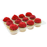 H-E-B White Cupcakes with Red Buttercream Icing