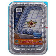 Handi-Foil Fun Colors 13x9 in Cake Pans with Blue Lids