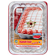 Handi-Foil Fun Colors 13x9 in Cake Pans with Red Lids