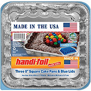 Handi-Foil Fun Colors 8 in Square Cake Pan with Blue Lids