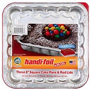 Handi-Foil Fun Colors 8 in Square Cake Pans with Red Lids
