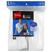 Hanes Men's Cushion Crew Socks White - Size 6-12