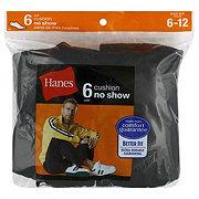 Hanes Men's Cushion No Show Black Socks-Size 6-12
