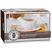 Haven & Key Embossed Gravy Boat With Saucer