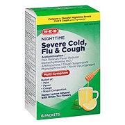 HEB Flu & Severe Cold & Cough Nighttime Honey Lemon Packets
