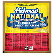 Hebrew National Beef Franks Reduced Fat