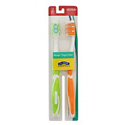 Hill Country Essentials Massager/Tongue Cleaner Medium Toothbrushes - Colors May Vary