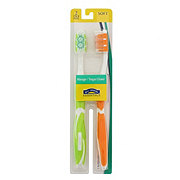 Hill Country Essentials Massager/Tongue Cleaner Soft Toothbrushes - Colors May Vary