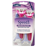 Hill Country Essentials Speed3 Triple Blade Disposables Razors For Women with Sensitive Skin