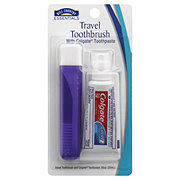 Hill Country Essentials Travel Toothbrush With Colgate Toothpaste - Colors May Vary