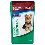 Hill Country Fare Dog Dinners Grilled Flavor with Beef in Gravy Wet Dog Food