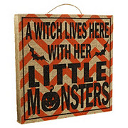 Holiday Market Witch And Little Monster Burlap Sign