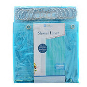 Home Collections Blue Tint Shower Curtain with Hooks