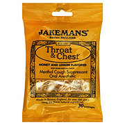 Jakemans Throat & Chest Honey & Lemon Flavored Cough Suppressant Oral Anesthetic Lozenges