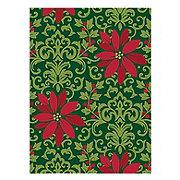 "John Ritzenthaler Christmas Poinsettia & Damask 60"" Round Tablecloth"