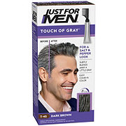 Just For Men Touch of Gray Hair Color Dark Brown Gray T-45