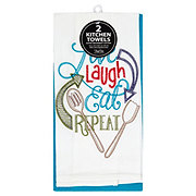 Kay Dee Designs Live Laugh Embossed Peacock Flour Sack