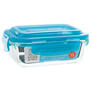 Kitchen & Table Teal Borosilicate Glass Rectangle Storage Container