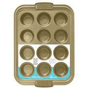 Kitchen and Table Titanium Ceramic 12 Count Gold Muffin Pan