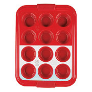 Kitchen and Table Titanium Ceramic 12 Cup Red Muffin Pan