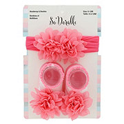 Lil' Duds Coral Headwrap & Bootie Set