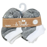 Lil' Duds White/Gray No Show Socks, 0-12 Months