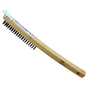 Linzer Project Select Long Curved Handled Wire Brush with Metal Scraper