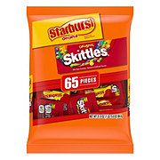 Mars Skittles and Starburst Original Halloween Candy Bag, 65 Fun Size ct