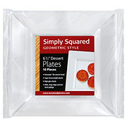 Maryland Plastics Simply Squared Geometric Style Dessert Plates, 6-1/2 inch