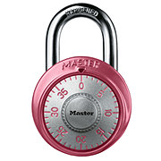 Master Lock Wide Combination Dial Padlock with Aluminum Cover; Pink