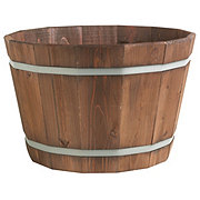 Matthews Four Seasons Wooden Barrel Planter