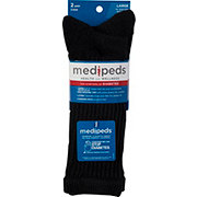 MediPeds Diabetic Crew Socks Large Black