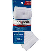 MediPeds Diabetic Quarter Socks Medium White