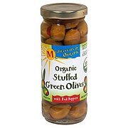 Mediterranean Organic Stuffed Green Olives With Red Peppers