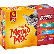 Meow Mix Savory Morsels Seafood Favorites 12 Cup Variety Pack