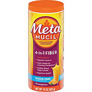 Metamucil Psyllium Fiber Supplement Sugar-Free Orange Smooth Powder