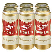 Miller High Life Beer 6 PK Cans