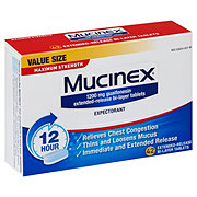 Mucinex 12 Hour Maximum Strength Expectorant Guaifenesin 1200 mg Extended-Release Bi-Layer Tablets