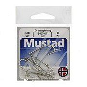 Mustad 3407-DT O'shaughnessy Hooks, Size 1/0