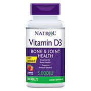 Natrol Vitamin D3 5000 IU, Natural Strawberry Tablet