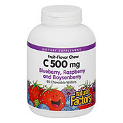 Natural Factors 100% Natural Vitamin C 500 mg Blueberry, Raspberry, And Boysenberry Chewable Wafers