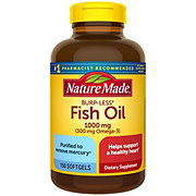 Nature Made Burp-Less Fish Oil 1000 mg Omega-3 300 mg Liquid Softgels