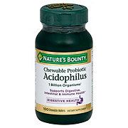 Nature's Bounty Natural Strawberry Flavor Chewable Probiotic Wafers Acidophilus with Bifidus