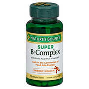 Nature's Bounty Super B Complex with Folic Acid Plus Vitamin C Tablets
