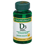 Nature's Bounty Vitamin D3 125 mcg (5000 IU) Softgels