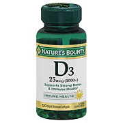 Nature's Bounty Vitamin D3 25 mcg (1000 IU) Softgels