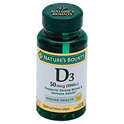 Nature's Bounty Vitamin D3 50 mcg (2000 IU) Softgels