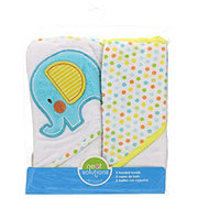 Neat Solutions Elephant 2 Pack Applique/Print Interlock/Knit Terry Hooded Towel Set