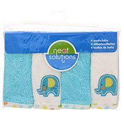Neat Solutions Elephant 4 Pack Emb/Solid Woven Terry Washcloth Set