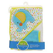 Neat Solutions Elephant Woven Terry/Interlock Applique/Print Hooded Towel And Washcloth Set